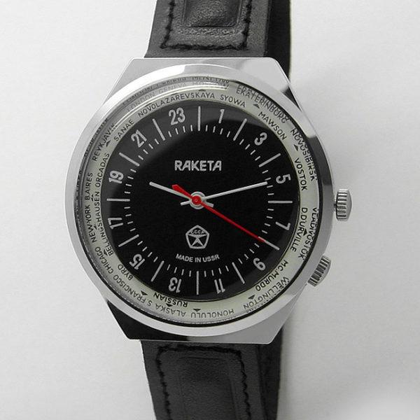 Russian 24-Hours Mechanical Military Watch RAKETA World Time Black