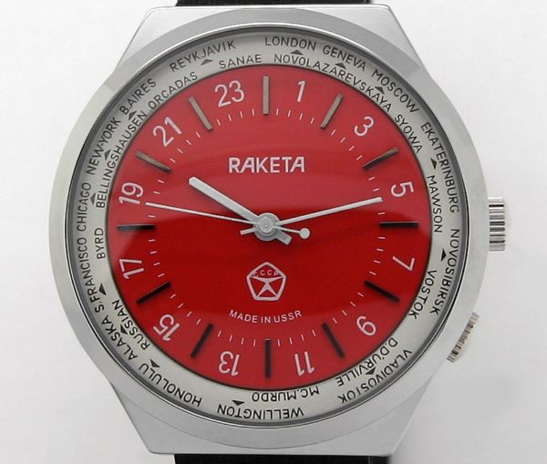 Russian 24-Hours Mechanical Military Watch RAKETA World Time Red
