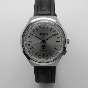 Russian 24-Hours Mechanical Military Watch RAKETA World Time Silver