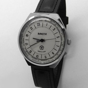 Russian 24-hours watch Raketa World Time White