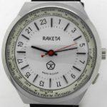 Russian 24-Hours Mechanical Military Watch RAKETA World Time White with Red Arrow