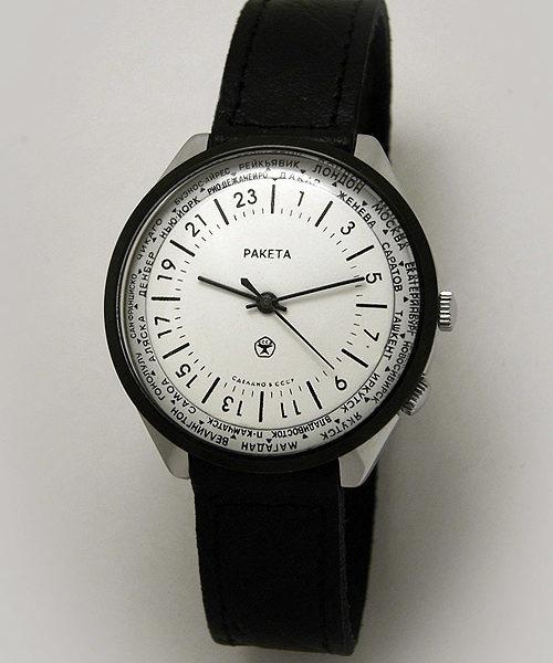 Russian 24-Hours Mechanical Military Watch RAKETA World Time White (Russian version)