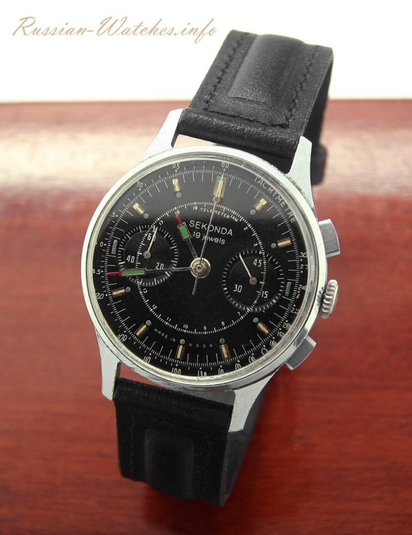 Soviet Vintage Sekonda Poljot STRELA 3017 Russian Military Chronograph Watch Black