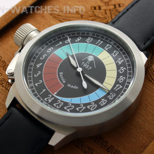 russian 24-hours watch with automatic movement sputnik 1957 52 mm