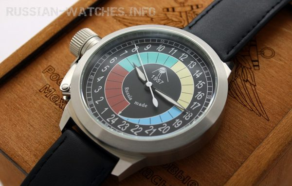 Russian 24-hours mechanical self-winding watch Sputnik 1957 4col3