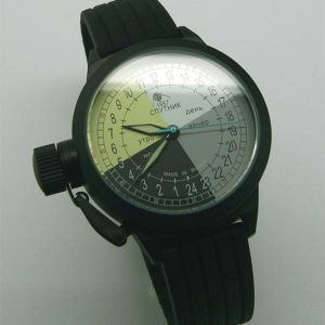 Russian 24-hours automatic watch Sputnik 1957 4col_black 45 mm