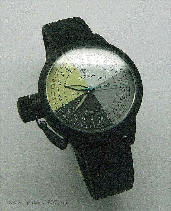 Russian 24-hours mechanical self-winding watch Sputnik 1957 4col_black 45 mm
