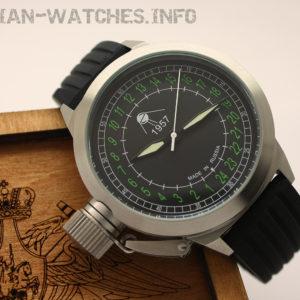 Russian 24-hours mechanical self-winding watch Sputnik 1957 Black 45 mm