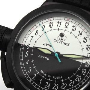 Russian 24-hours automatic watch Sputnik 1957 bw_black