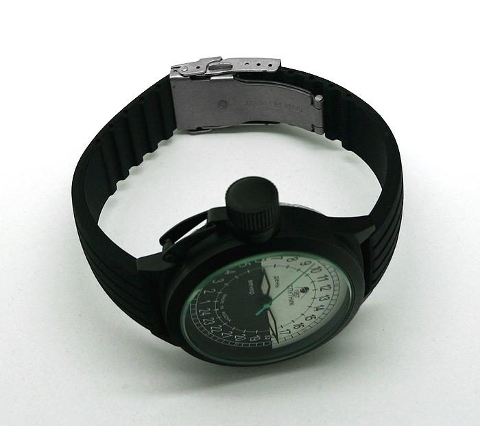 Russian 24-hours mechanical self-winding watch Sputnik 1957 bw_black