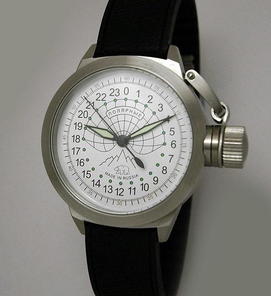 Russian 24-hours mechanical self-winding watch Sputnik 1957 Polar Bear 45 mm