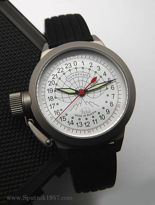 Russian 24-hours mechanical self-winding watch Sputnik 1957 Polar Bear (left-handed crown) 45 mm
