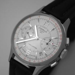 Strela Poljot 3133 Military Chronograph Watch White