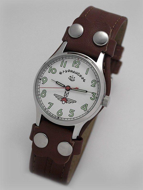 Russian mechanical watch POLJOT Sturmanskie Gagarin white/green