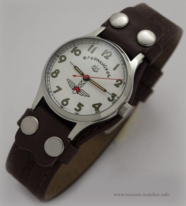 Russian mechanical watch POLJOT Sturmanskie Gagarin White/Orange