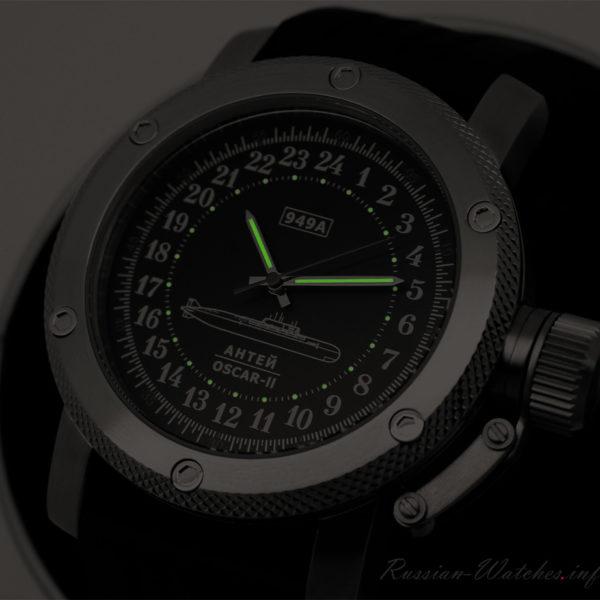 Russian 24-hour mechanical watch Submarine ANTEY (Oscar-2) Black 47 mm
