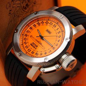 Russian 24-hour mechanical watch Submarine ANTEY (Oscar-2) Orange 47 mm