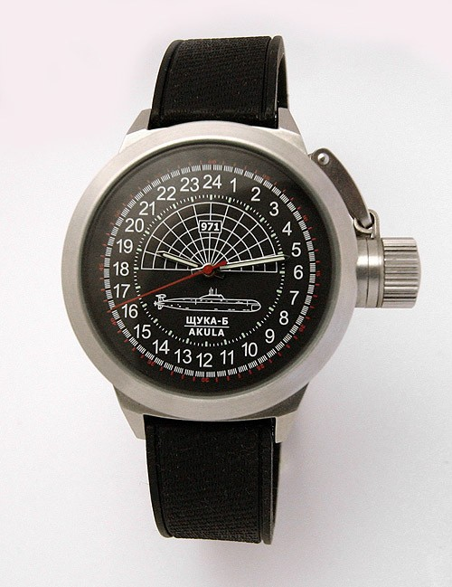 Russian 24-hour mechanical watch Submarine Shchuka-B Black 45 mm