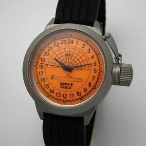 Russian 24-hour mechanical watch Submarine Shchuka-B Orange 45 mm