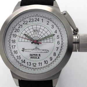 Russian 24-hour mechanical watch Submarine Shchuka-B White 45 mm