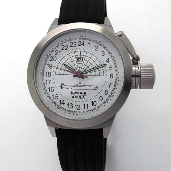 Russian 24-hour mechanical watch Submarine Shchuka-B White 45 mm