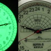 Russian 24-hour mechanical watch Submarine Shchuka-B Akula White 51 mm