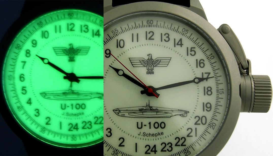 German WWII Submarine U-100 – Russian 24-hour mechanical watch