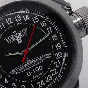 Russian 24-hour mechanical watch Submarine U-100 SCHEPKE Black 45 mm