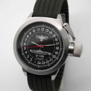Russian 24-hour mechanical watch Submarine U-100 SCHEPKE Black 45 mm