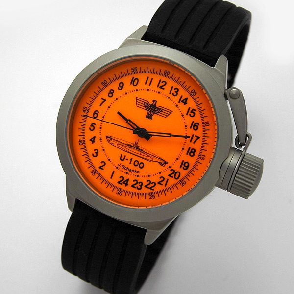Russian 24-hour mechanical watch Submarine U-100 SCHEPKE Orange 45 mm
