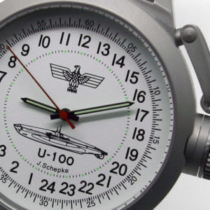 Russian 24-hour mechanical watch Submarine U-100 SCHEPKE White 45 mm