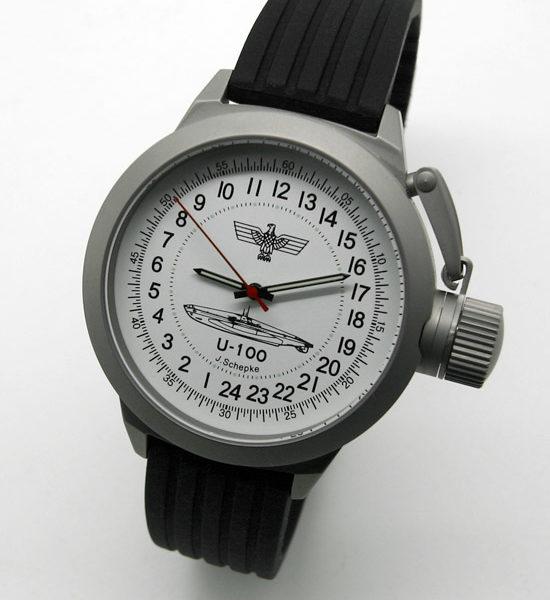 Russian 24-hour mechanical watch Submarine U-100 SCHEPKE White 45 mm