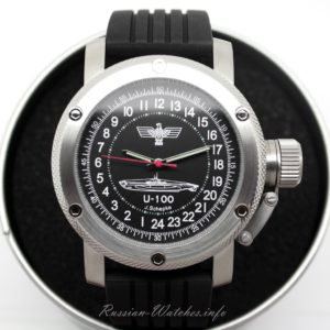 Russian 24-hour mechanical watch Submarine U-100 SCHEPKE black 47 mm