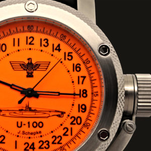 Russian 24-hour mechanical watch Submarine U-100 SCHEPKE orange 47 mm