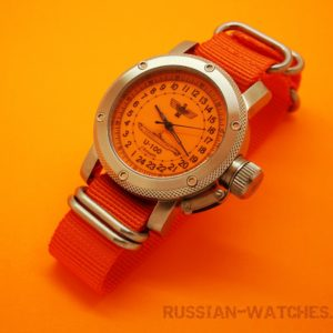 Russian 24-hour mechanical watch Submarine U-100 SCHEPKE Orange 47 mm (Nato Strap)