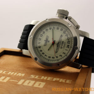 Russian 24-Hour Mechanical Watch Submarine U-100 SCHEPKE White Luminous Dial 47 mm