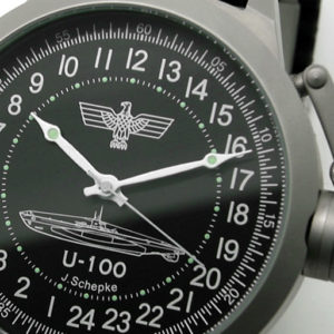 Submarine U-100 Joachim Schepke 24 Hour Dial Watch 51mm