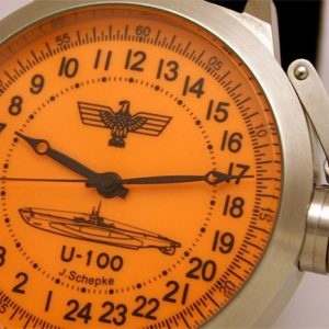 Russian 24-hour mechanical watch Submarine U-100 SCHEPKE orange 51 mm