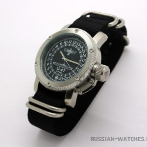 Russian 24-hour mechanical watch German Submarine U-47 Guenther Prien Black 47 mm (NATO strap)