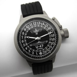 Russian 24-hour mechanical watch Submarine U-47 Guenther Prien black 51 mm