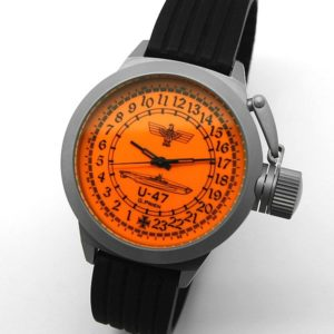 Russian 24-hour mechanical watch Submarine U-47 Guenther Prien orange 51 mm