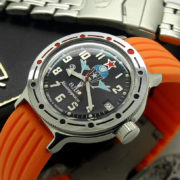 vostok amphibian 420288 russian automatic watch with silicone strap