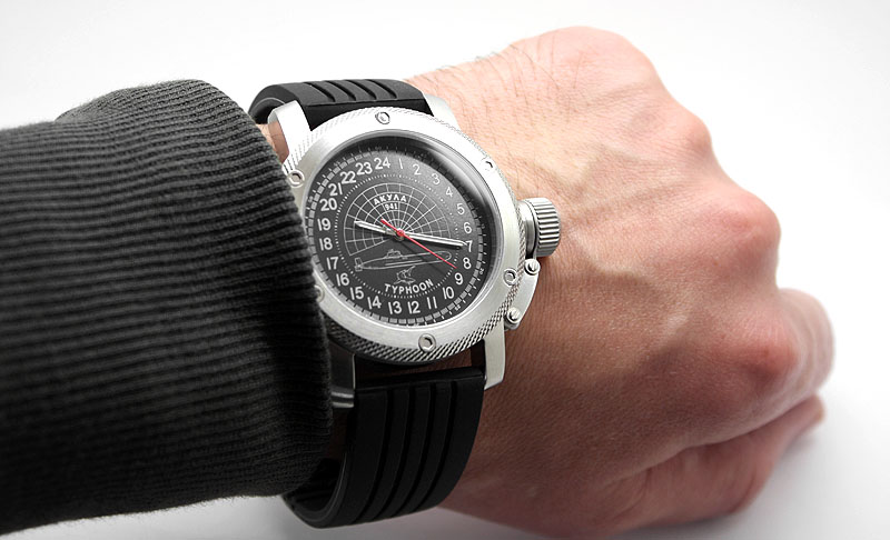 Russian 24-Hour Watch Submarine TYPHOON (Akula) Black 47 mm