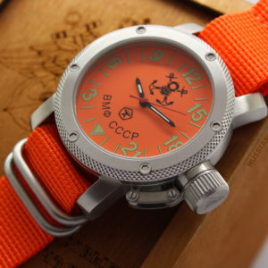 Russian Navy Diver 24-hours watch Automatic 47 mm orange zulu
