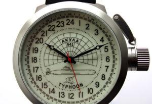 Russian 24-Hour Watch Submarine TYPHOON (Akula) White Luminescent 51 mm