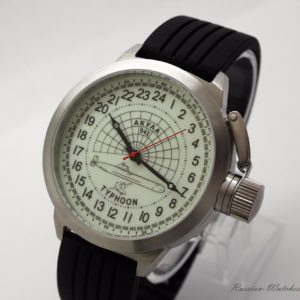 Russian 24-Hour Watch Submarine TYPHOON (Akula) White Luminescent 51 mm