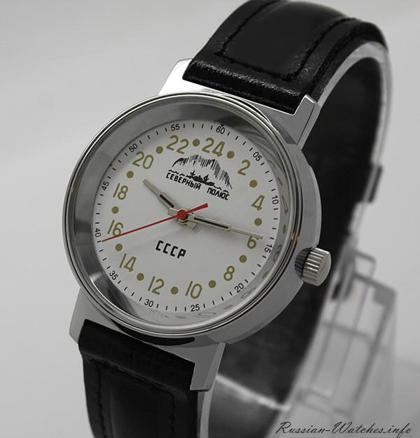 Russian 24-hours mechanical watch Raketa ARCTIC North Pole (white)