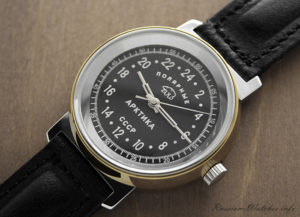 Russian 24-hours mechanical watch Raketa ARCTIC Polar Bear (black)
