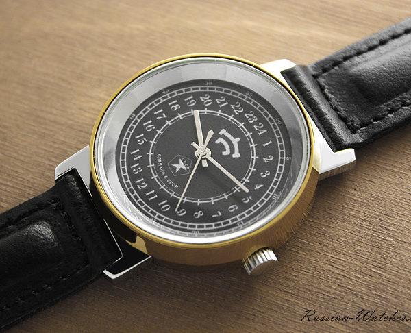 Russian 24-hours mechanical watch Raketa Classic (black)