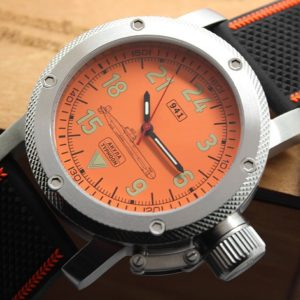 Russian 24 hour watch, Akula Submarine, Automatic Orange 47 mm